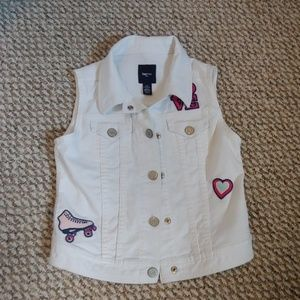 Gap Sleeveless Jean jacket with patches